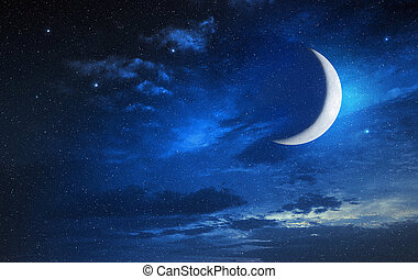 cielo stellato, nuvoloso, luna
