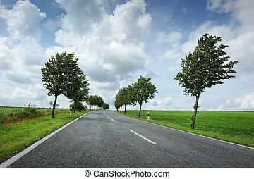 cielo, strada, nuvoloso