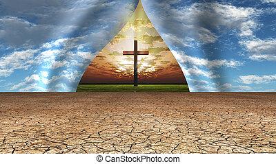 cielo, tirato, separatamente, a, rivelare, croce, luce, e, posto, oltre