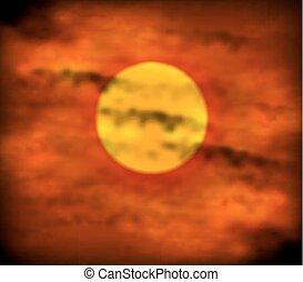 cielo, tramonto, rosso