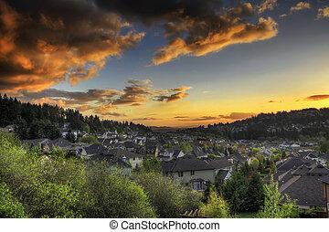 cielo tramonto, sobborghi