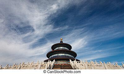 cielo, vista, lado, templo