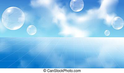 cielo, y, burbuja