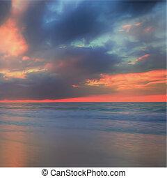 cielo, y, mar, fondo., composición, de, nature., vector