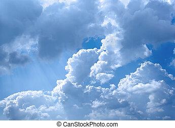 cielo, y, nubes