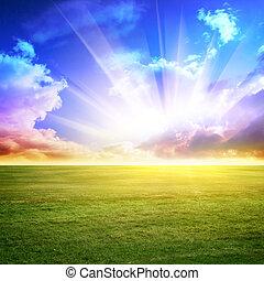 cielo, y, pradera verde