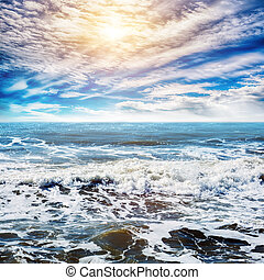 cielo, y, tropical, océano, plano de fondo