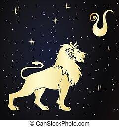 cielo, zodíaco, leo, estrellado