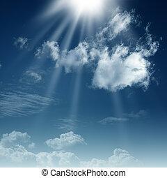 cielos azules, y, sol brillante, natural, fondos