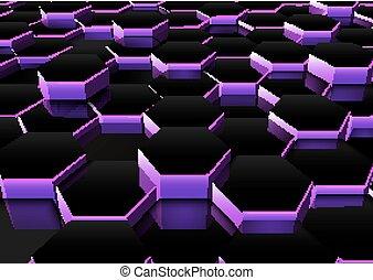 ciemna purpura, sześciokątny, tło