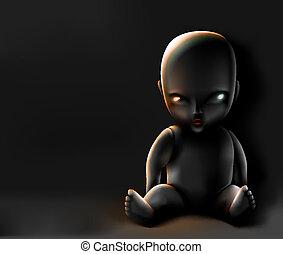 ciemne tło, lalka