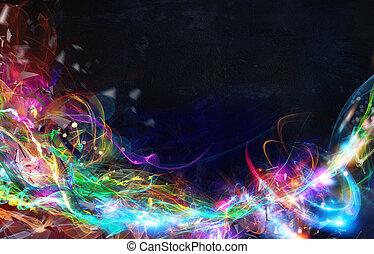 ciemny, abstrakcyjny, nowoczesny, ruch, tło, chorągiew