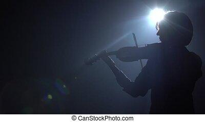 ciemny, blask, dookoła, room., wstecz, scena, wiolinista, tło., schyla się, czarnoskóry, ona, dym, smyczki, prospekt