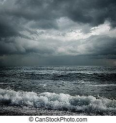 ciemny, burza, morze, chmury