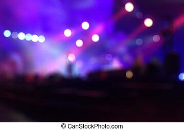 ciemny, defocused, tło, koncert