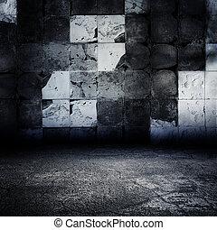 ciemny, grungy, opuszczony, taflowy, room.