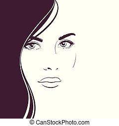 ciemny, kobieta, młody, długa twarz, włosy