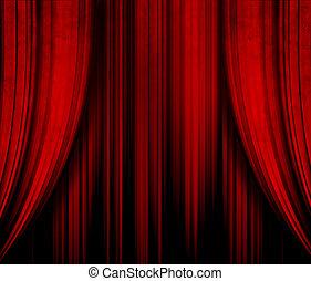 ciemny, kurtyna, teatr, czerwony