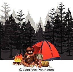 ciemny, las, obozowanie, człowiek