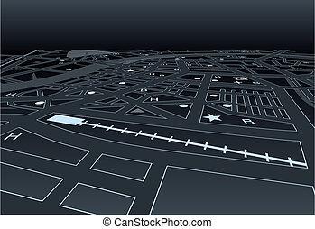 ciemny, mapa, ulica