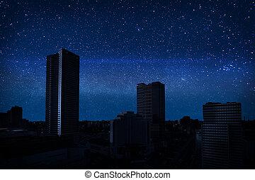 ciemny, miasto, pełny, niebo, gwiazdy