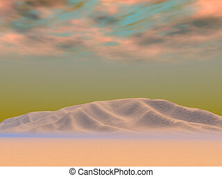 ciemny, mornin, pustynia
