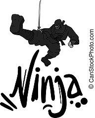 ciemny, ninja