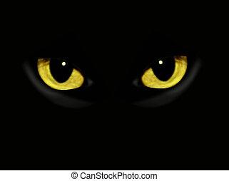 ciemny, noc, kot, oczy