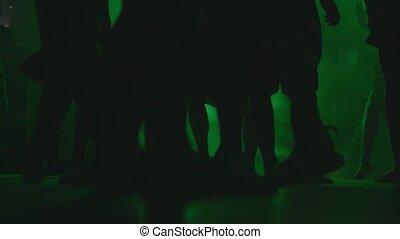 ciemny, nogi, sylwetka, ludzie, taniec