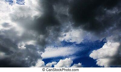 ciemny, obniżający, 4k., clouds.