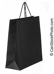 ciemny, papier shopping torba, odizolowany, na białym