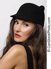 ciemny, portret, kobieta, kapelusz, młody