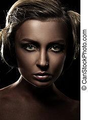 ciemny, portret, od, niejaki, piękny, dziewczyna