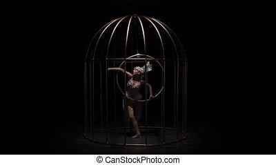 ciemny, powolny, stage., gimnastyk, obręcz, ruch, tło., ...