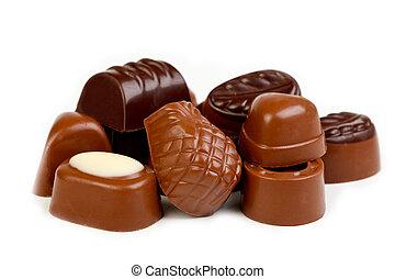 ciemny, pralines, mleczny, zachwycający, czekolada