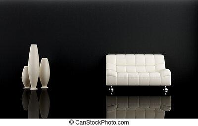ciemny, sofa, biały pokój