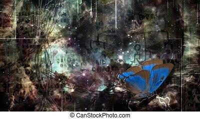 ciemny, surrealistyczny, motyl, sztuka