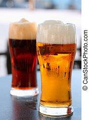 ciemny, szkło, piwo, lekki