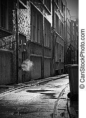 ciemny, uliczka, niepogodny dzień, tajemniczy