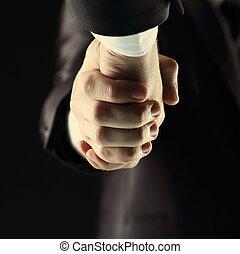 ciemny, uzgodnienie, -, tło, ręka