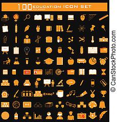 cien, conjunto, educación, icono