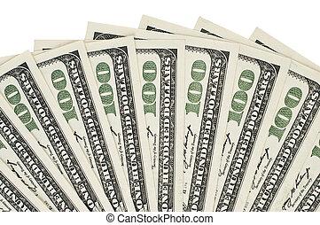 cien dólar, plano de fondo, uno