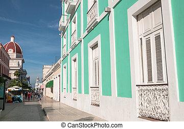 Cien Fuegos building Cuba Caribbean libre