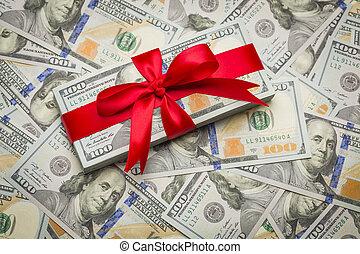 cien, u..s. dólar, uno, diseñado, envuelto, nuevamente, cuentas