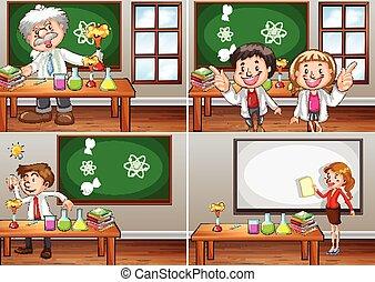 ciencia, aulas cursos, con, profesores