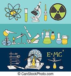 ciencia, bosquejo, banderas