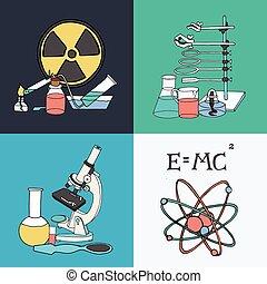 ciencia, bosquejo, iconos