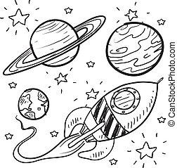 ciencia, bosquejo, objetos, ficción