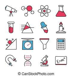 ciencia, conjunto, iconos