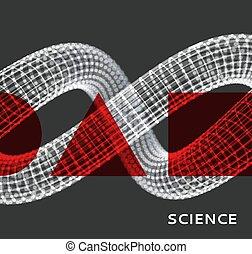 ciencia, design., 3d, vector, particles., dinámico, resumen...